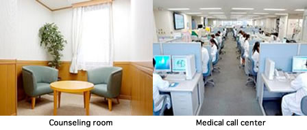Pictures of counseling room and Medical call Center